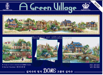 ''A green village'' dome cross stitch, cross stitch kit, DIY embroidery kit