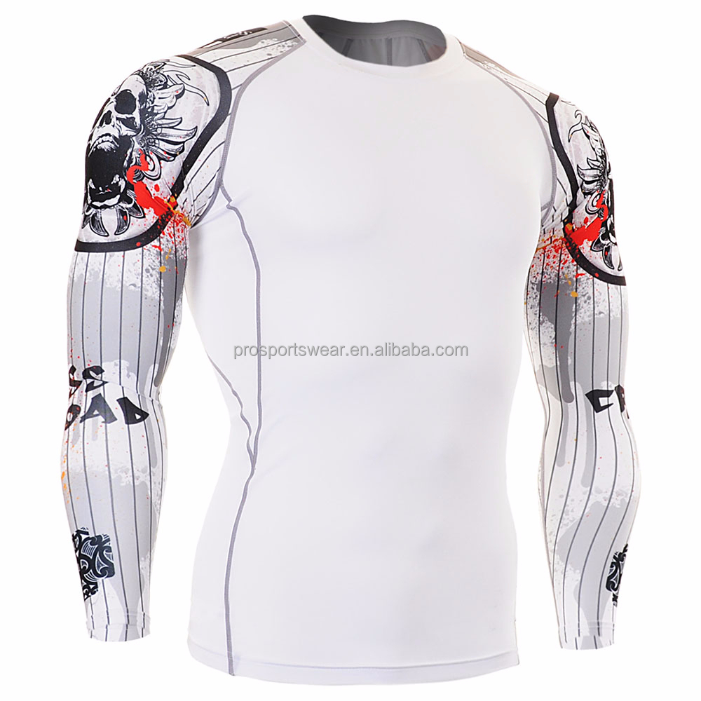 OEM Factory Custom Made Compression Shirts Printed Rash Guards Long Sleeves Trainnig exercise Football T Shirts