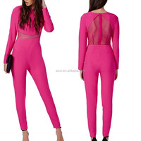 Pink mesh high neck sleeveless bandage women pink jumpsuits