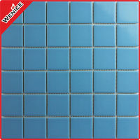 Blue ceramic tiles for shower floor 48x48mm