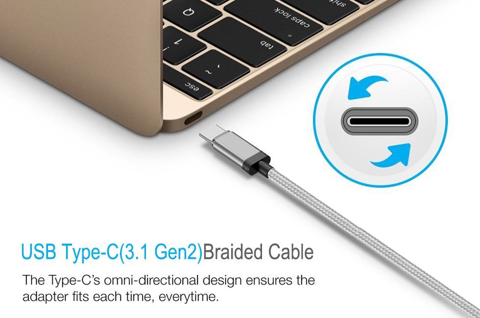 GEN 2 Type C Cable 10gb 3.3FT USB IF Approved Quality Nylon Braided Pattern