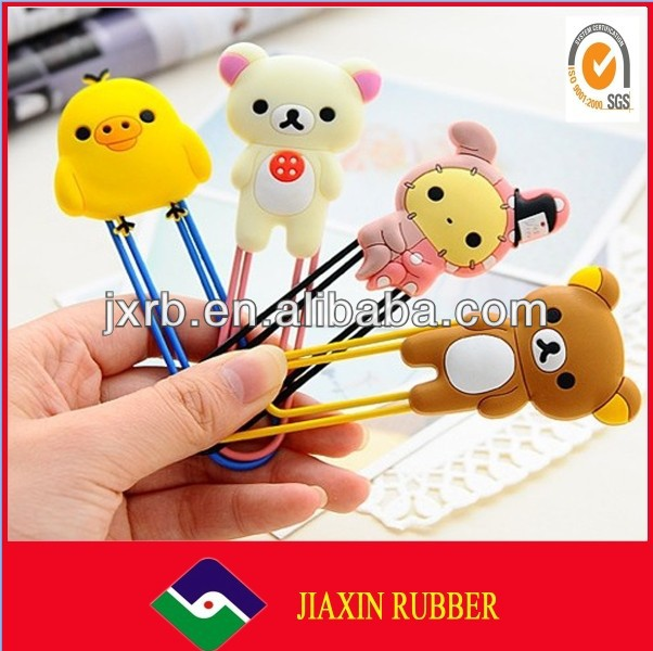 2014 newest cartoon silicone rubber soft pvc bookmark custom magnetic book clips