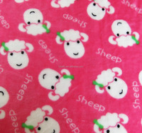 soft polyester cartoon sheep print flannel fleece fabric for girl's pajamas/ bathrobe