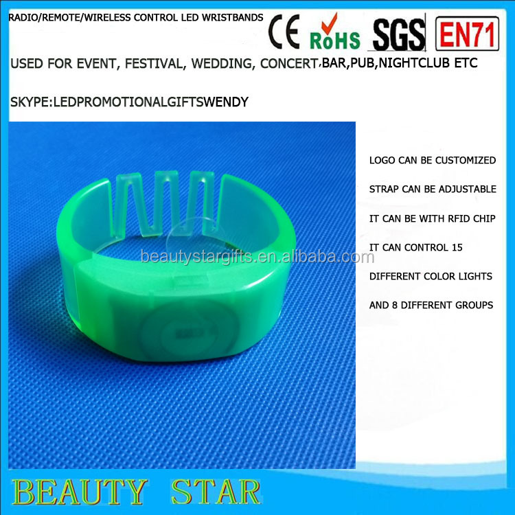 Event use Led glowing bracelets,RFID Led glowing bracelets,Radio/remote/wireless control Led glowing bracelets China factory