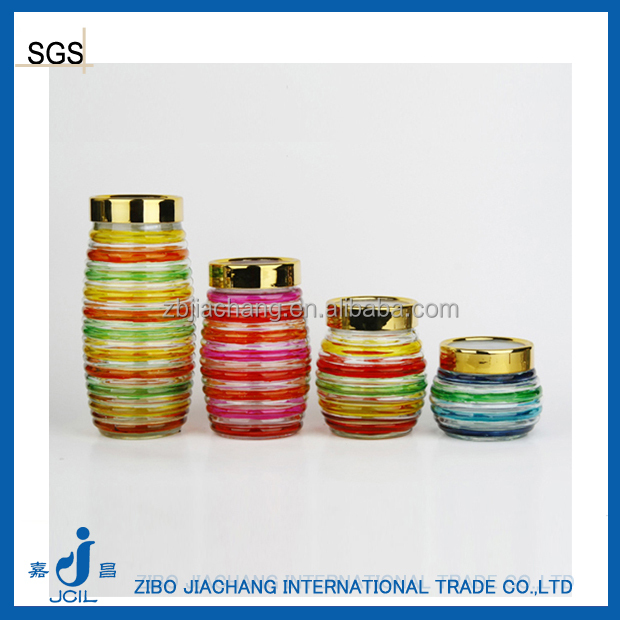 decorate colorful glass meterial canning jars for gift lollipop with screw golden lids