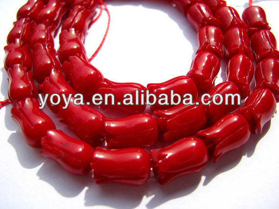 CB8022 Red Coral tulip beads,flower shaped coral beads