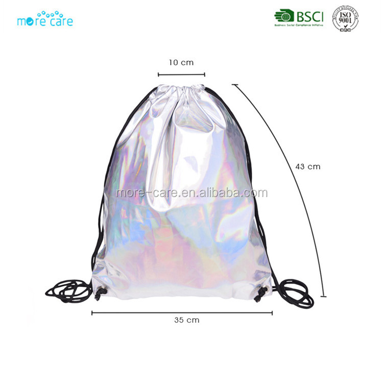 custom women holographic pu drawstring backpack