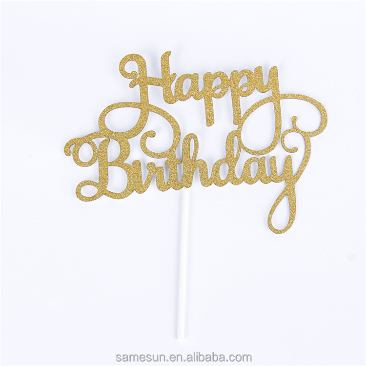 Happy Birthday Laser Cut Glitter Paper Cake topper