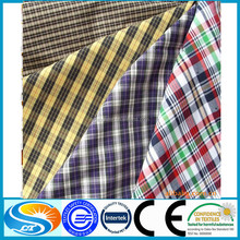 Yarn dyed non stretch cotton check poplin shirt fabric for wholesale