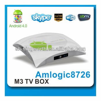 OEM/ODM manufacturer Amlogic M3 Android 4.0 TV box cortex A9 with skype,wireless AP,PPPOE,DLNA support XBMC