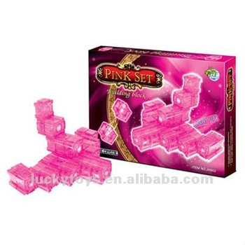 Pink set light up crystal building block