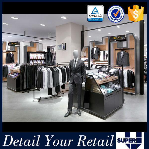 Brand clothes store fixtures design nice looking stylish good quality clothing shop vitrine display
