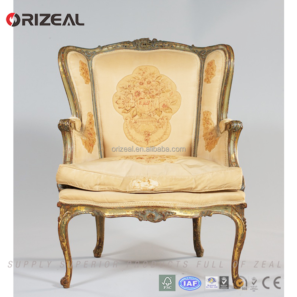 19TH French Style Antique Wing Chair with High Back and Curved Wooden Frame