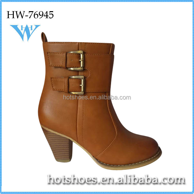 new arrive top quality lower price lady stylish mid heel boots shoes