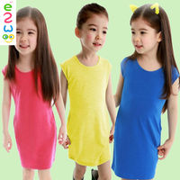 Cheap Little Girl Pageant Dresses Solid Color Cotton Dresses For Birthday