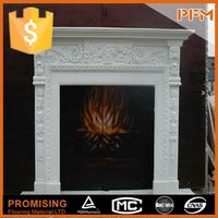 put in conner style fireplace with pebble fuel