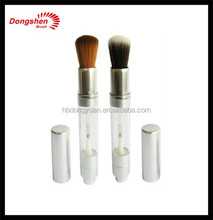 Private label synthetic hair pump brushes makeup baby powder brush,pump lid plastic jar wholesale
