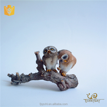 Garden Decor miniature Owl Figurine standing tree branch ,Animal Garden Decoration Statues
