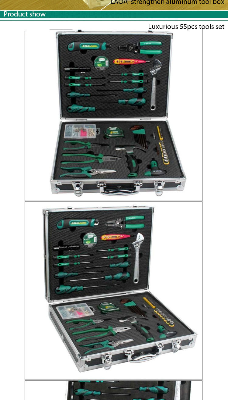 55 in 1 High grade aluminum tool box with tools