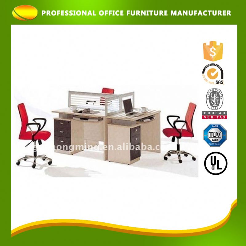 Personalized Partition Office Wooden Workstation For 3 People Three Person