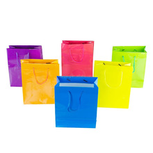Neon Colored Blank Paper Party Gift Bags Rainbow Assortment with String Handles for Birthday Favors, Snacks, Decoration