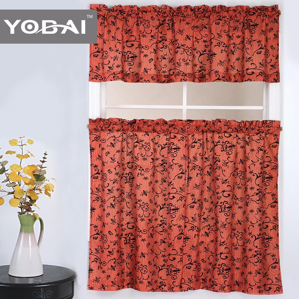 100%Polyester Custom Flocking Hotel Kitchen Curtain