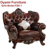 Newest design European Wooden heated leather sofa
