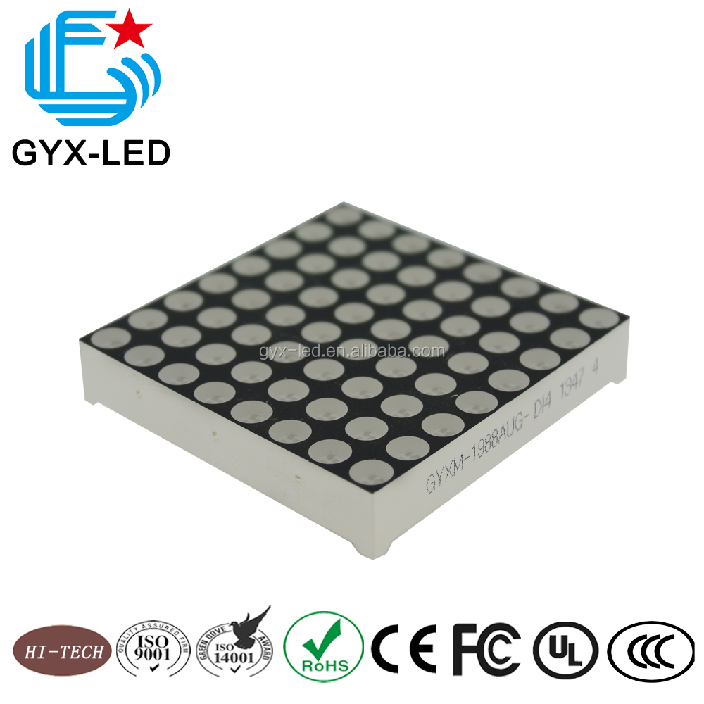 8x8 led dot matrix display module dot size 4.8mm pitch 7mm green color for bank bus supermarket information board