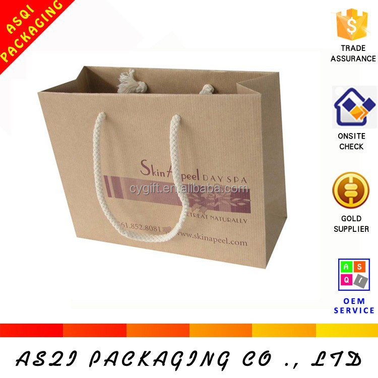 environmental friendly 250g brown kraft paper recycle jumbo bag with cotton handles