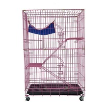 Heavy duty folding metal pet cage 3-Tier cat condo cage with two doors