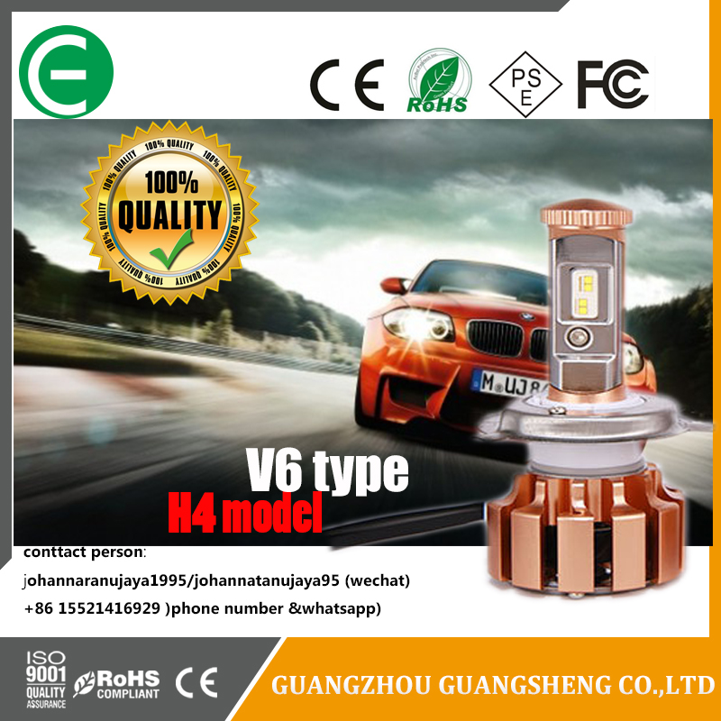 Double beam! V6 type H4 model 40W car LED headlight bulbs has many kids of models (High/Low beam)