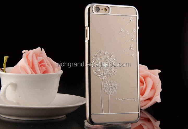 Ultra Slim Luxury Crystal Diamond Bling Transparent Electroplate Dandelion Case Cover For iPhone 5s