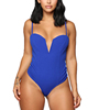 Summer Royal Blue Women Spaghetti Strap Bodysuits Low Cut Sexy Tops