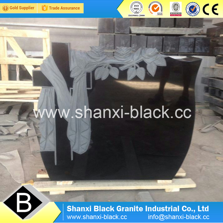 Shanxi Black Granite Tombstone monuments memorials Classic Angel Carving