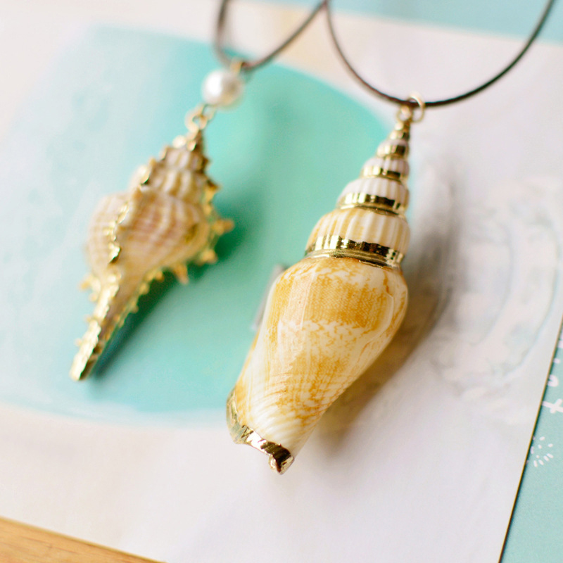 Natural style shell shape shell travel commemorative <strong>necklace</strong> for women's