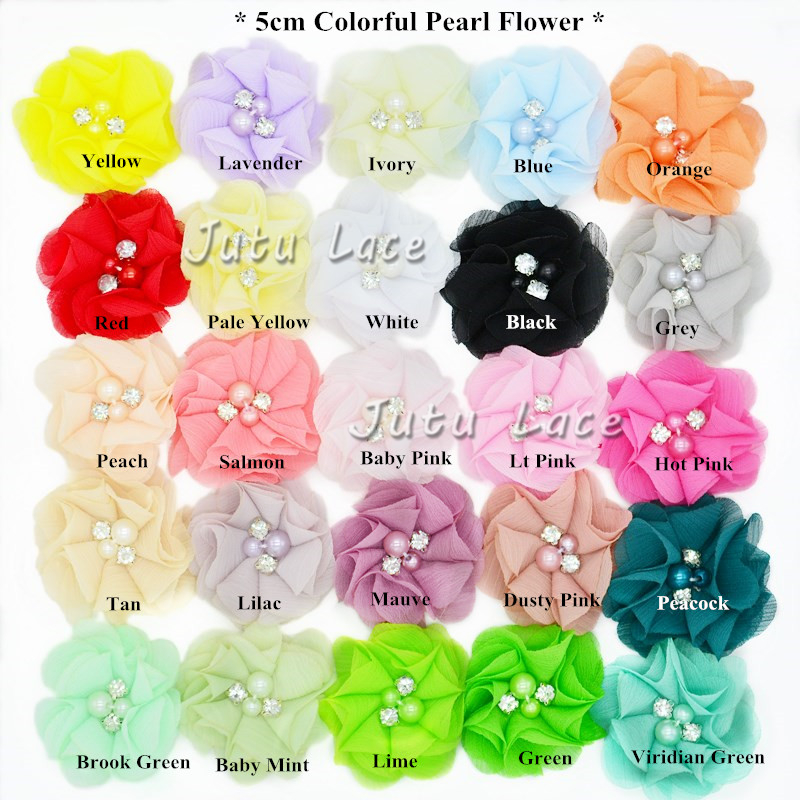 Handmade pearl center chiffon flowers in 5inch baby hair accessory fabric flower with beads