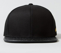 Custom embroidery snapback hat with leather brim