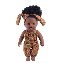 2018 newest 12 inch Toy Baby Black Dolls lifelike african baby doll for girls, kids, children, Kids Holiday and Birthday gift