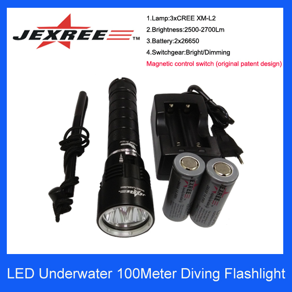 Underwater 150 meters LED Diving light Rechargeable multifunction camping flashlight