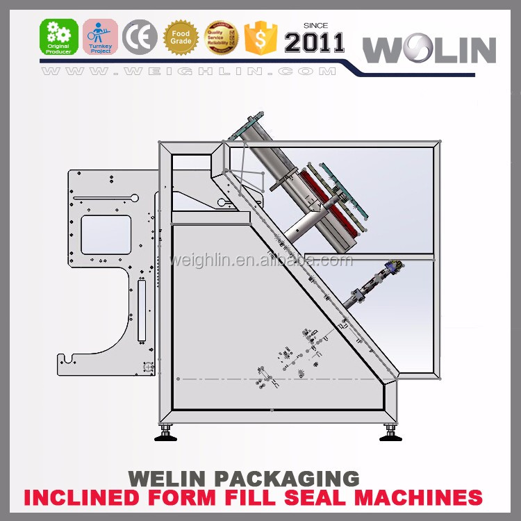 Welin 2017 High quality Mini Inclined form fill machine plastic film MC for long fragile, easy broken material, easy damaged