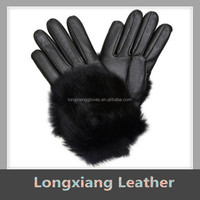 Women's Fine Leather Gloves With Fur Trim for Winter Dressing