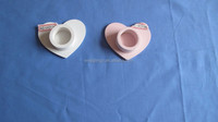handmade heart shape wood candle holder