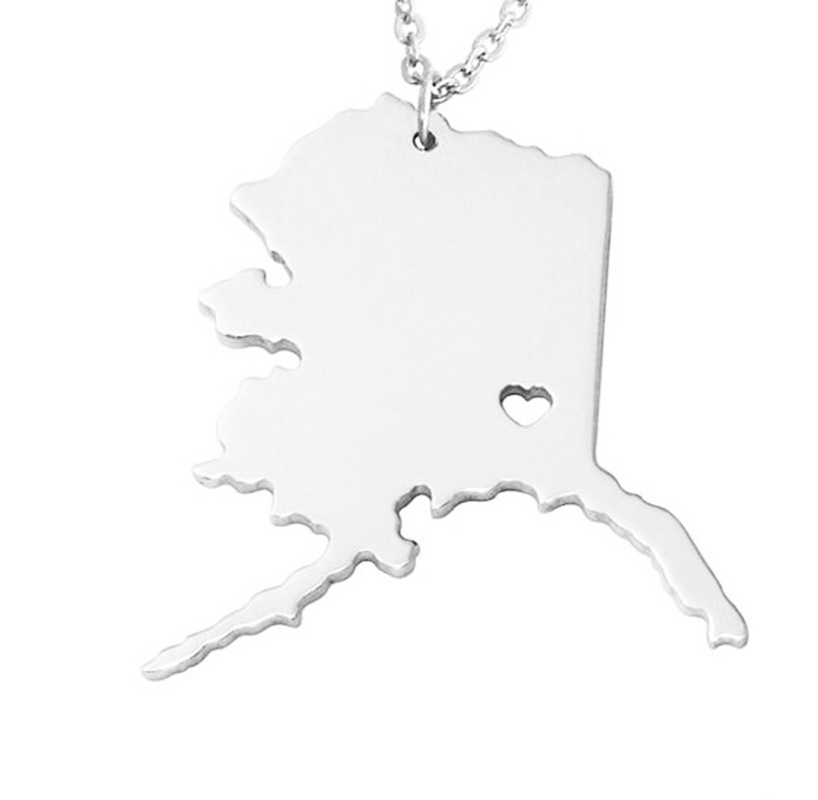 Customize Area Special Gift for American/USA Alaska State Map Necklace Stainless Steel Jewelry