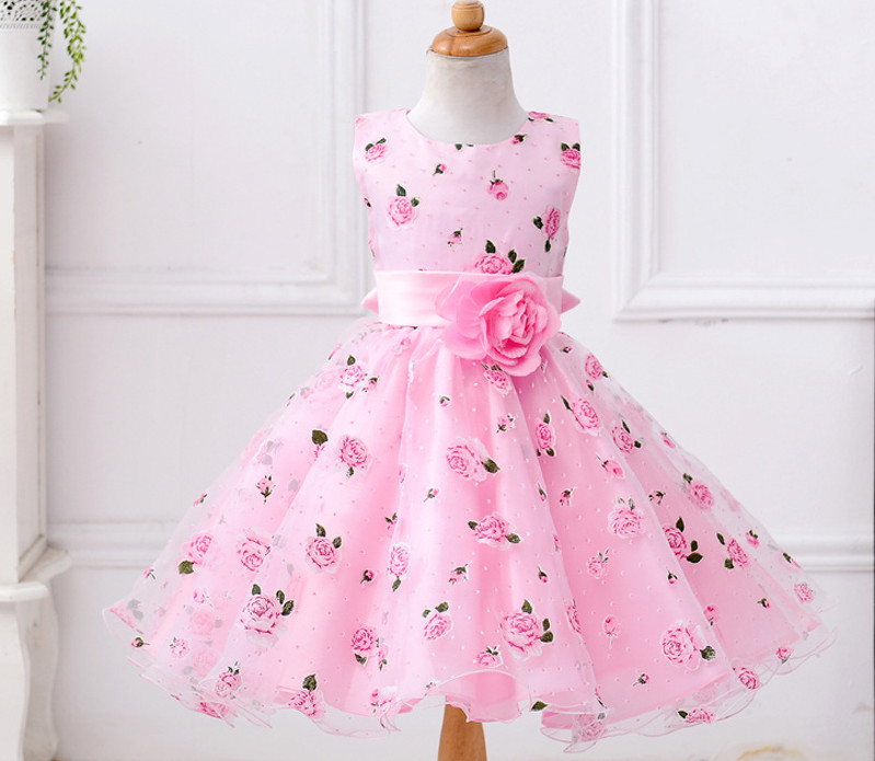 Kids clothes latest dress designs for flower girls party dress 2017