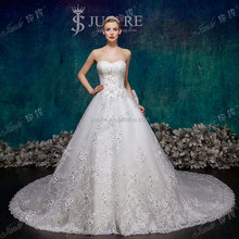 New Arrival Lace Appliqued Real Sample Factory Made Crystal Beaded Long Cathedral Train Wedding Dresses