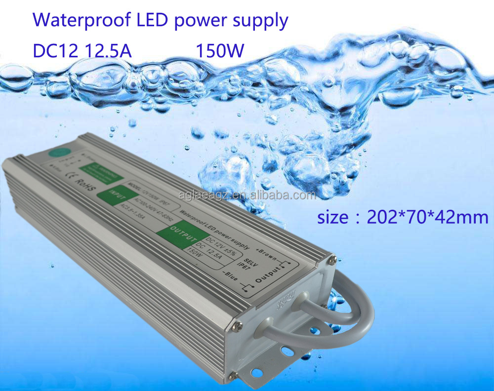 150Watt DC 12V 150W 12.5A Led Power Supply Constant Voltage LED Transformer IP67 Waterproof Aluminum Alloy Shell Power Supply