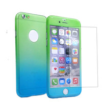 Front + Back Color Rainbow Mobile Tempered Glass Screen Protector 360 Phone Case for iPhone 6 6S