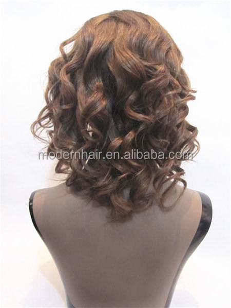 Fashion brown #6 short Chinese human virgin hair lace front u part wig for black women