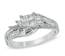 Princess-Cut Quad Diamond Engagement Ring adjustable gold wedding finger rings for women