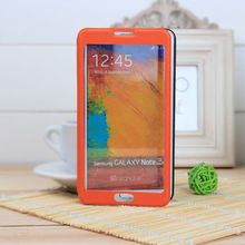 smart window leather flip cover for samsung note 3 leather case